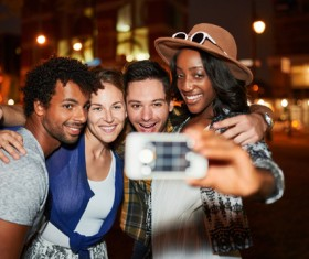 Friends party using smartphone selfie Stock Photo 07