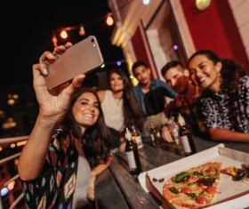 Friends party using smartphone selfie Stock Photo 08