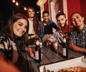 Friends party using smartphone selfie Stock Photo 09