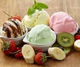 Fruit with ice cream Stock Photo 04