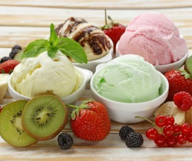 Fruit with ice cream Stock Photo 05