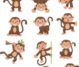 Funny cartoon monkeys design vector 01