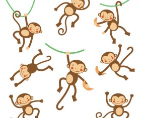 Funny cartoon monkeys design vector 02