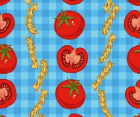 Fusilli flour with tomato seamless pattern vector