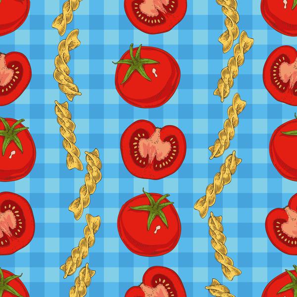 Fusilli flour with tomato seamless pattern vector
