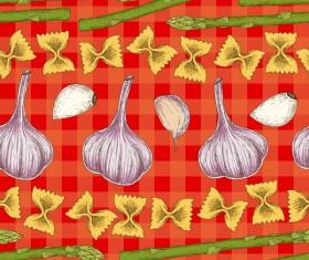 Garlic and asparagus seamless pattern vector