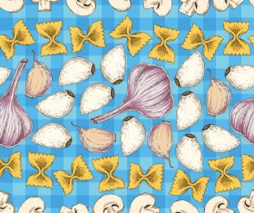 Garlic and mushroom seamless pattern vector