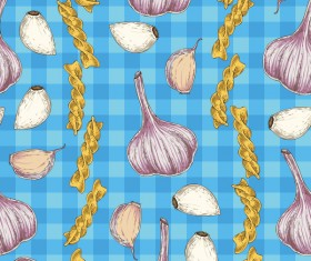 Garlic with fusilli flour seamless pattern vector
