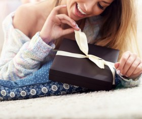Girl and gift box Stock Photo