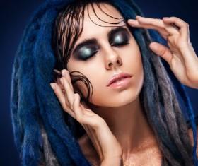 Girl colorful paint makeup Stock Photo 02