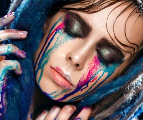 Girl colorful paint makeup Stock Photo 06