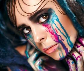 Girl colorful paint makeup Stock Photo 07