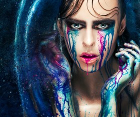 Girl colorful paint makeup Stock Photo 12