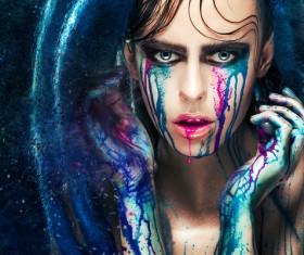 Girl colorful paint makeup Stock Photo 12