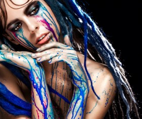 Girl colorful paint makeup Stock Photo 16