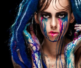 Girl colorful paint makeup Stock Photo 17