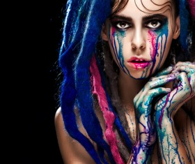 Girl colorful paint makeup Stock Photo 18