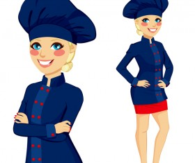 Girl dressed in blue chef suit vector