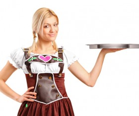 Girl wearing traditional German dress Stock Photo 01