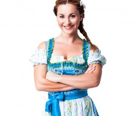 Girl wearing traditional German dress Stock Photo 02