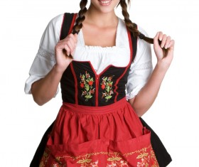 Girl wearing traditional German dress Stock Photo 03