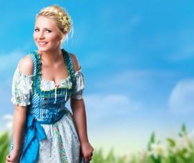 Girl wearing traditional German dress Stock Photo 04