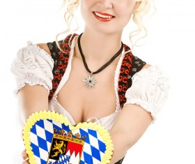 Girl wearing traditional German dress Stock Photo 05