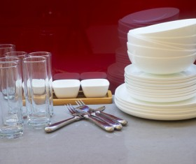 Glassware and white porcelain bowl Stock Photo