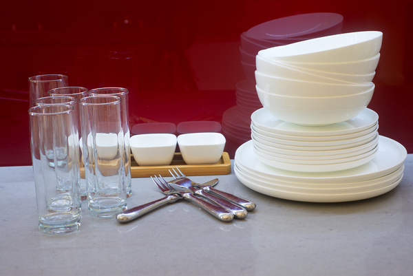 Glassware and white porcelain bowl Stock Photo