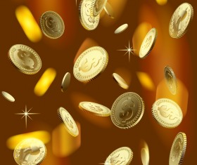 Gloden coins with blurs background vector 01