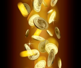 Gloden coins with blurs background vector 02