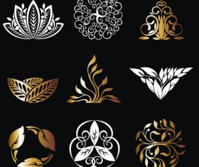 Golden with white ornaments vectors