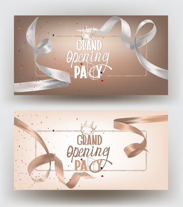 Grand opening banners with beige and white vector
