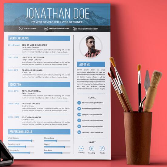 Graphic Dsigner Resume PSD Template