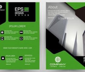 Green brochure cover template design vector 01