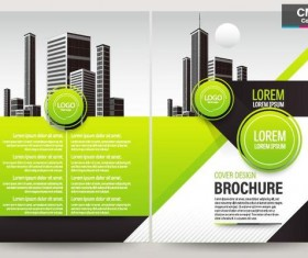 Green brochure cover template design vector 02