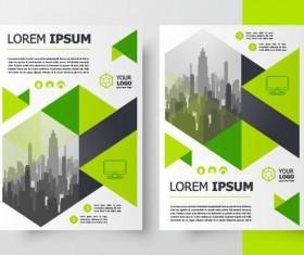 Green brochure cover template design vector 03