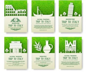 Green italy travel poster template vector