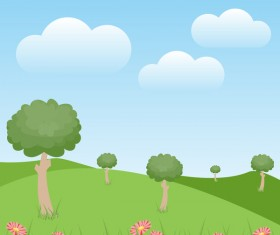 Green natural with blue sky and white cloud vector