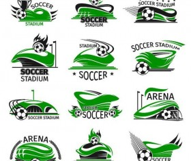 Green soccer logos design vectors