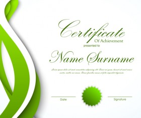 Green styles certificate template vector 01