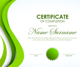 Green styles certificate template vector 02