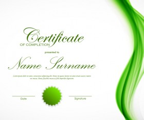 Green styles certificate template vector 04