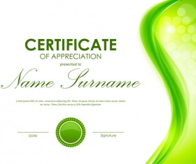 Green styles certificate template vector 05