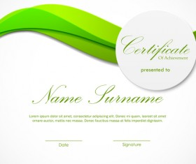 Green styles certificate template vector 06