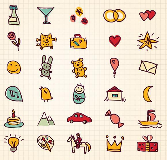 Greetings Doodles PSD Icon Set