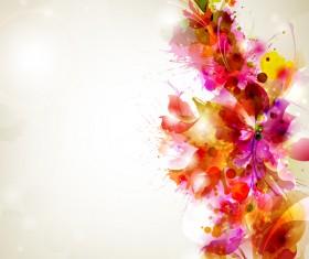 Grunge splash with floral vector background
