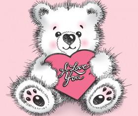 Hand drawn bears with heart vector