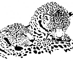 Hand drawn leopard vector illustration 04