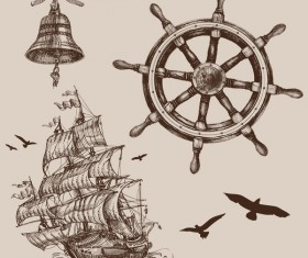 Hand drawn marine sketches vector 01
